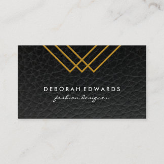 Elegant Geometric Gold Lines Simple Leather Business Card