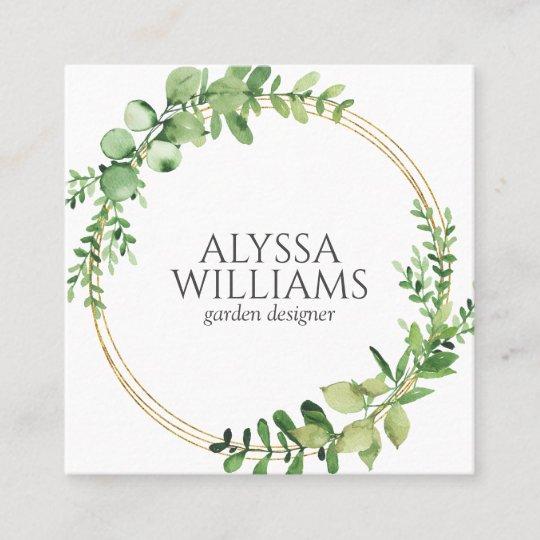 Elegant Geometric Greenery Eucalyptus Square Business Card