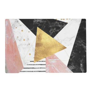 Elegant geometric marble and gold design placemat