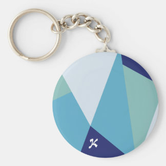 Elegant geometric navy blue and sea green pastel keychain