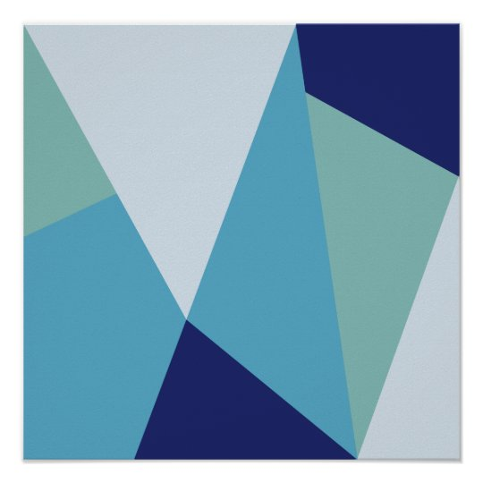 Elegant Geometric Navy Blue And Sea Green Pastel Poster