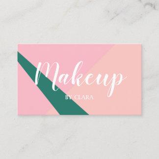 Elegant geometric pastel pink peach green business card