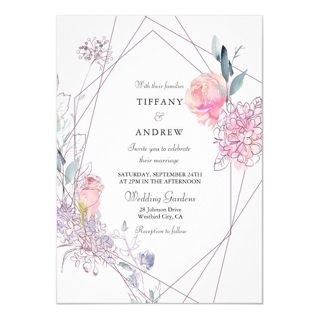 Elegant Geometric Pink Rose Floral Wedding Invite
