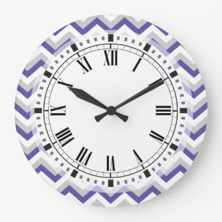 Elegant Geometric Purple Blue Chevron Zigzags Large Clock