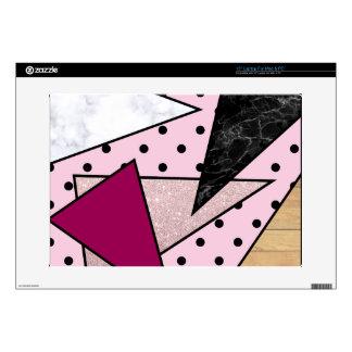 "Elegant geometric rose gold glitter marble wood decal for 15"" laptop"