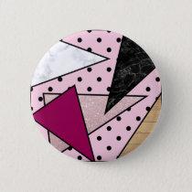 Elegant geometric rose gold glitter marble wood pinback button