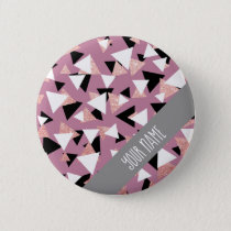 Elegant geometric triangles rose gold glitter button