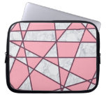 elegant geometric white marble pastel pink and red computer sleeve
