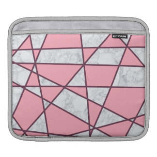 elegant geometric white marble pastel pink and red iPad sleeve