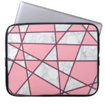 elegant geometric white marble pastel pink and red laptop sleeve