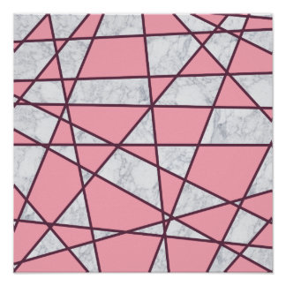 elegant geometric white marble pastel pink and red poster