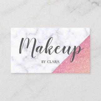 Elegant geometric white marble rose gold glitter business card