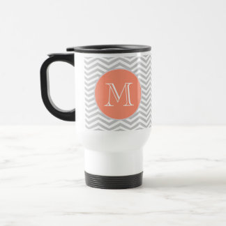 Elegant geometry of chevrón and monograma 15 oz stainless steel travel mug