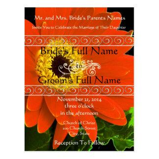 Elegant Gerber Daisy Wedding Invitation Postcard