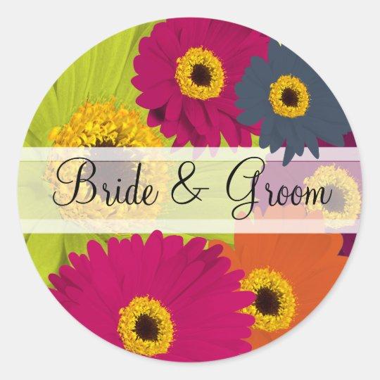 Elegant Gerber Daisy Wedding Stickers