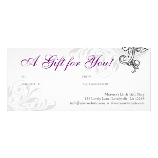 Elegant Gift Certificate Retail Floral Purple W