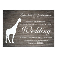 Elegant Giraffe Clay Wedding Invitation