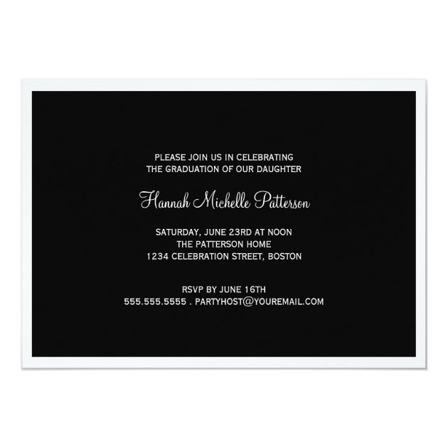 Elegant Girl 4 Photo Black & White Graduation 5x7 Paper Invitation Card (back side)