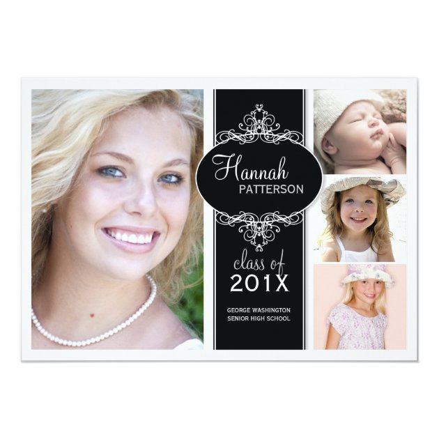 Elegant Girl 4 Photo Black & White Graduation 5x7 Paper Invitation Card