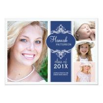 Elegant Girl 4 Photo Blue & White Graduation Card