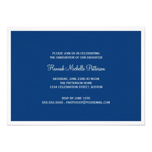 Elegant Girl 4 Photo Blue & White Graduation Custom Invites (back side)