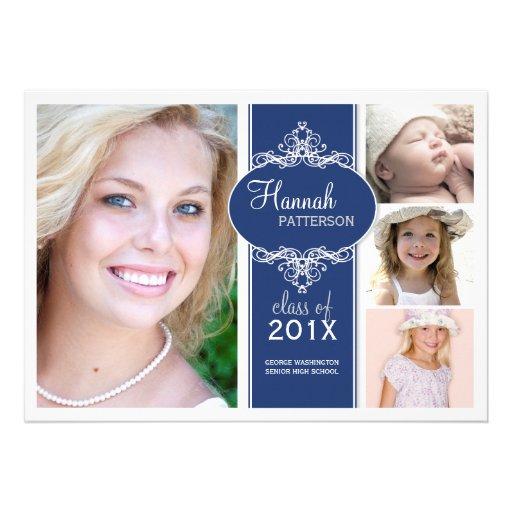Elegant Girl 4 Photo Blue & White Graduation Custom Invites