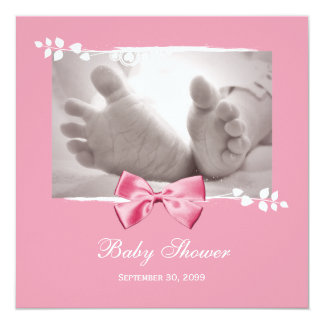 Elegant Girl Baby Shower Baby Feet With Pink Bow Personalized Invites