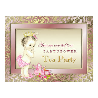 Elegant Girl Tea Party Baby Shower 6.5x8.75 Paper Invitation Card