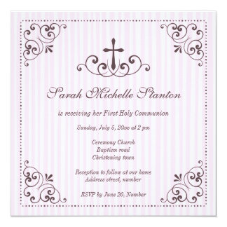 Elegant girls first communion invitation