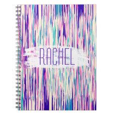 Elegant Girly Abstract Brushstrokes Monogram Notebook