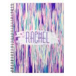 Elegant Girly Abstract Brushstrokes Monogram Spiral Notebook