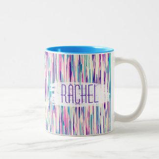Elegant Girly Abstract Brushstrokes Monogram Two-Tone Coffee Mug