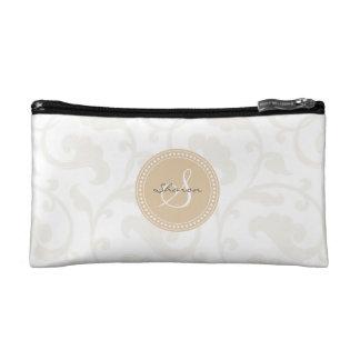 Elegant girly beige floral pattern monogram makeup bag
