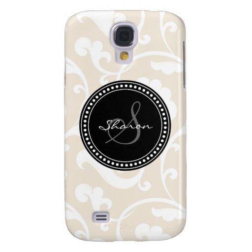 Elegant girly beige floral pattern monogram samsung galaxy s4 case