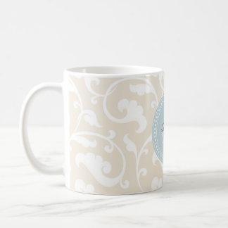 Elegant girly beige floral pattern monogram classic white coffee mug