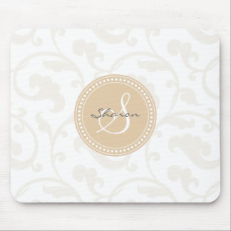 Elegant girly beige floral pattern monogram mouse pad