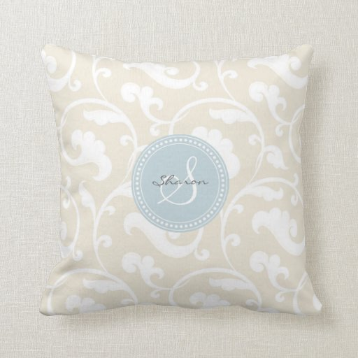 Elegant girly beige floral pattern monogram throw pillow