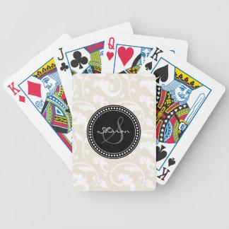 Elegant girly beige floral pattern monogram poker cards