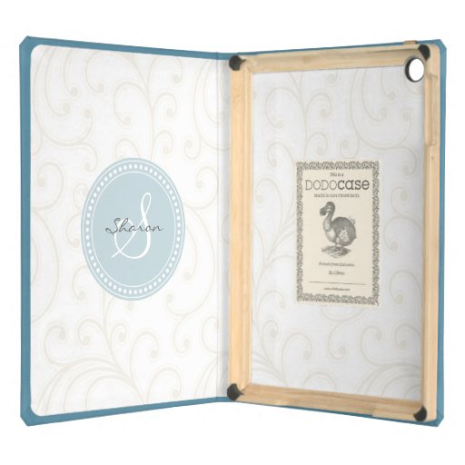 Elegant girly beige white floral pattern monogram case for iPad air