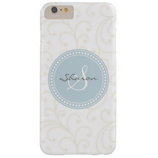 Elegant girly beige white floral pattern monogram barely there iPhone 6 plus case