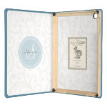 Elegant girly beige white floral pattern monogram case for iPad air