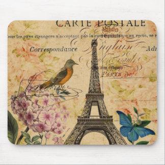 elegant girly bird floral vintage paris art mouse pad