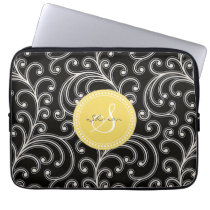 Elegant girly black floral pattern monogram computer sleeve