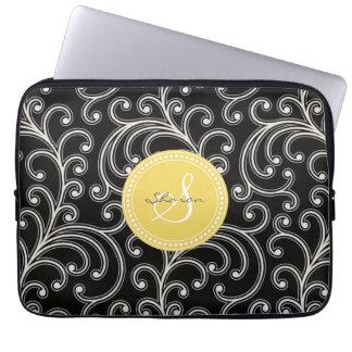 Elegant girly black floral pattern monogram computer sleeve