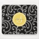 Elegant girly black floral pattern monogram mouse pad