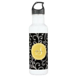 Elegant girly black floral pattern monogram stainless steel water bottle