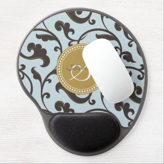 Elegant girly blue brown floral pattern monogram gel mouse pad