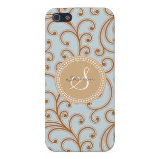 Elegant girly blue brown floral pattern monogram iPhone 5 covers