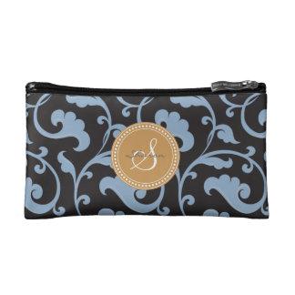 Elegant girly blue floral pattern monogram makeup bags