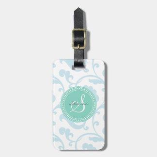 Elegant girly blue floral pattern monogram bag tag